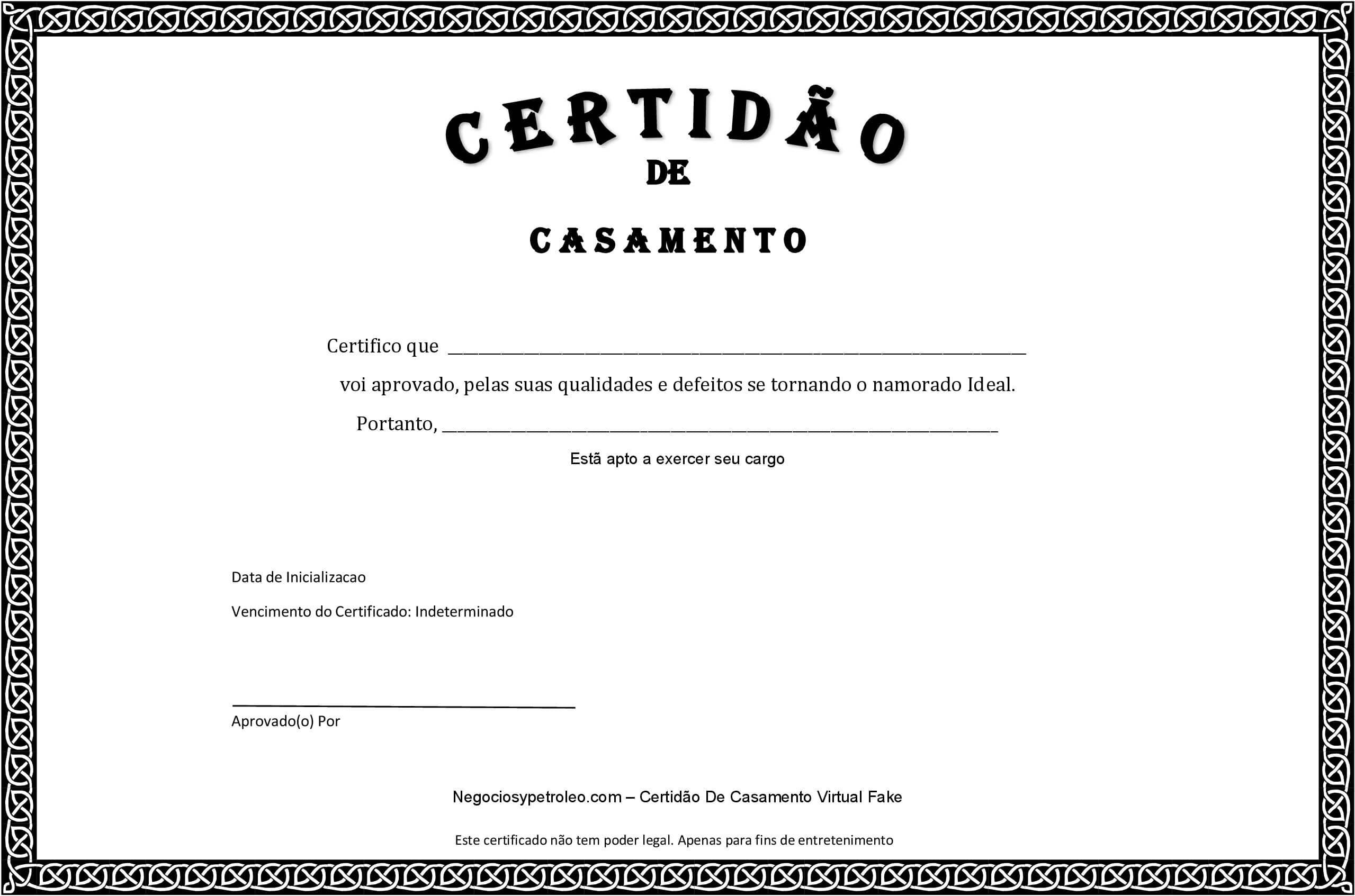 Certidão De Casamento Fake