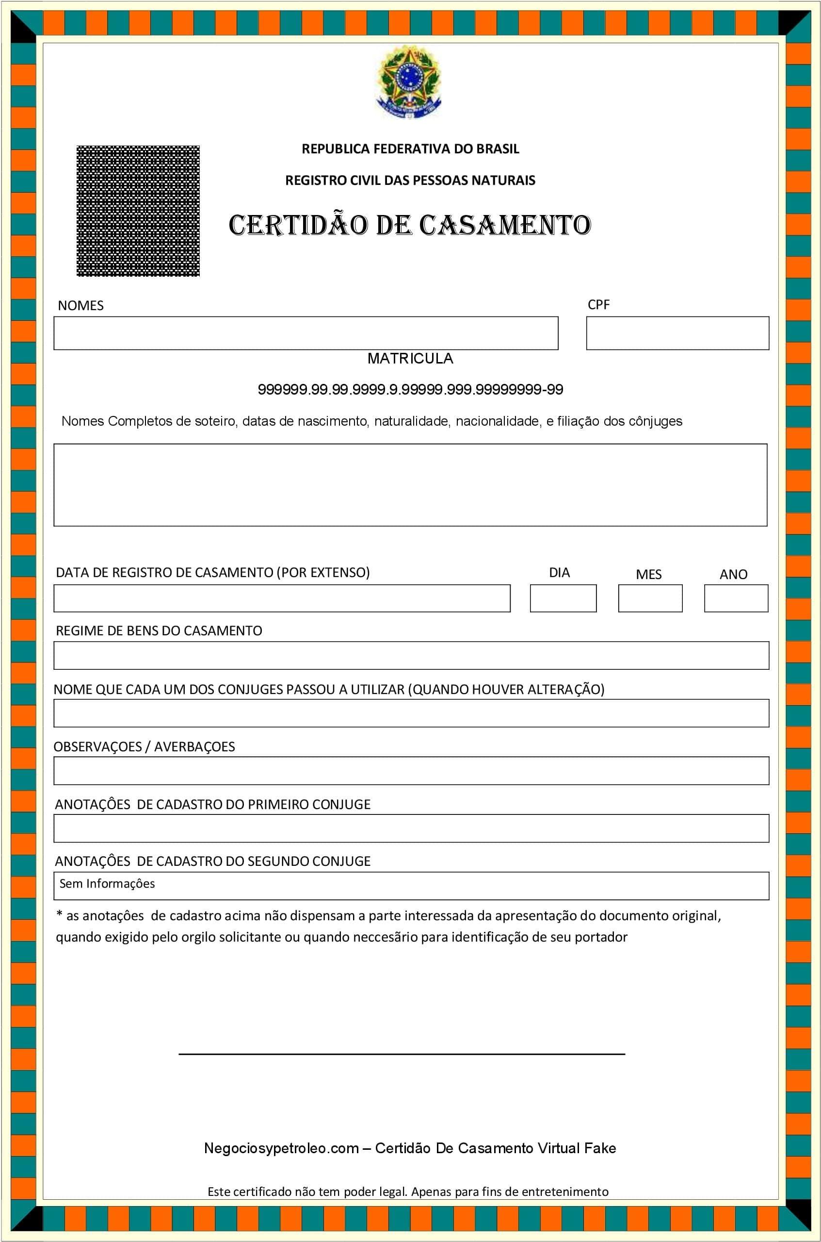 Certidão De Casamento Virtual Fake