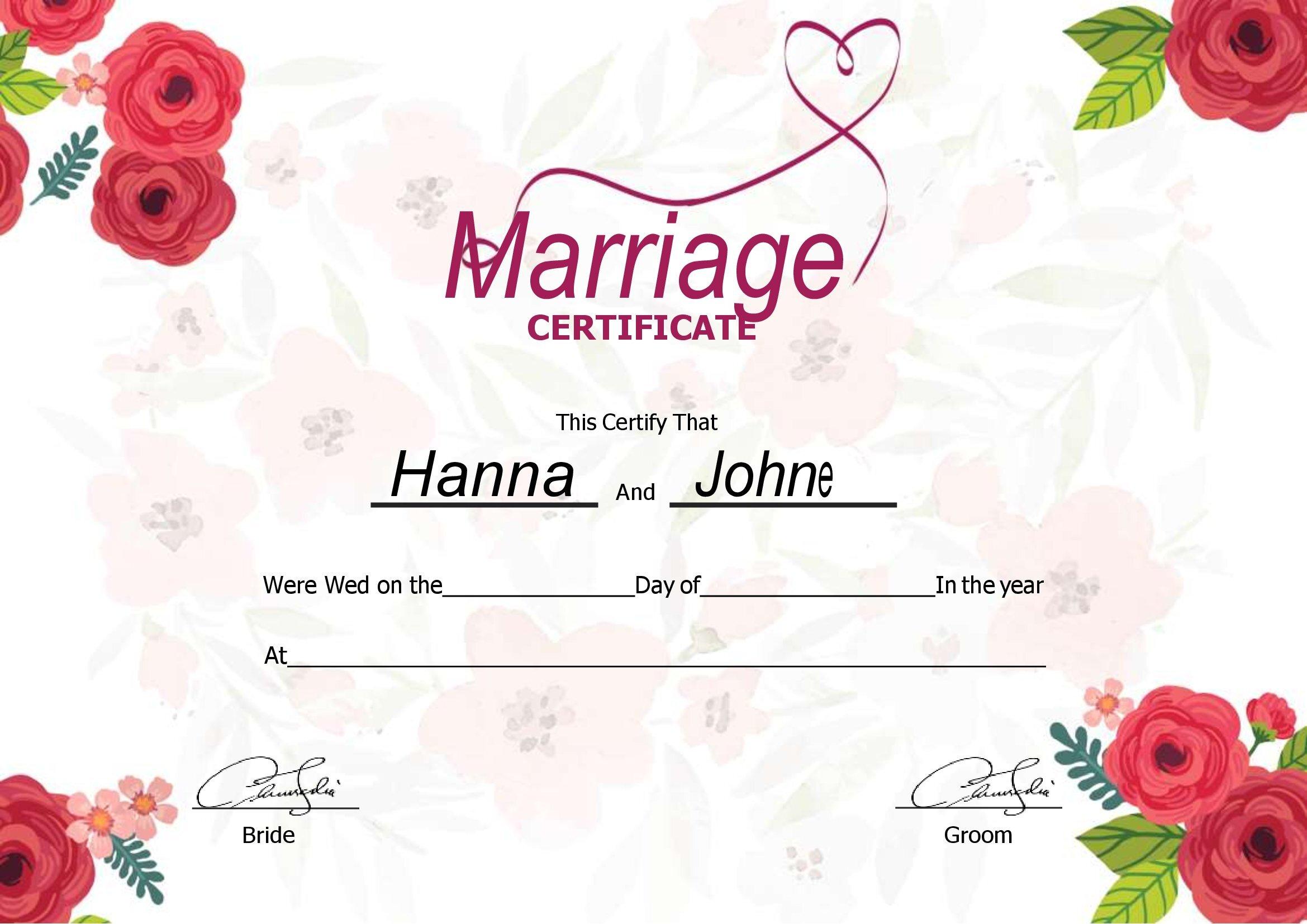 Certificado Certidão De Casamento Para Editar No Word